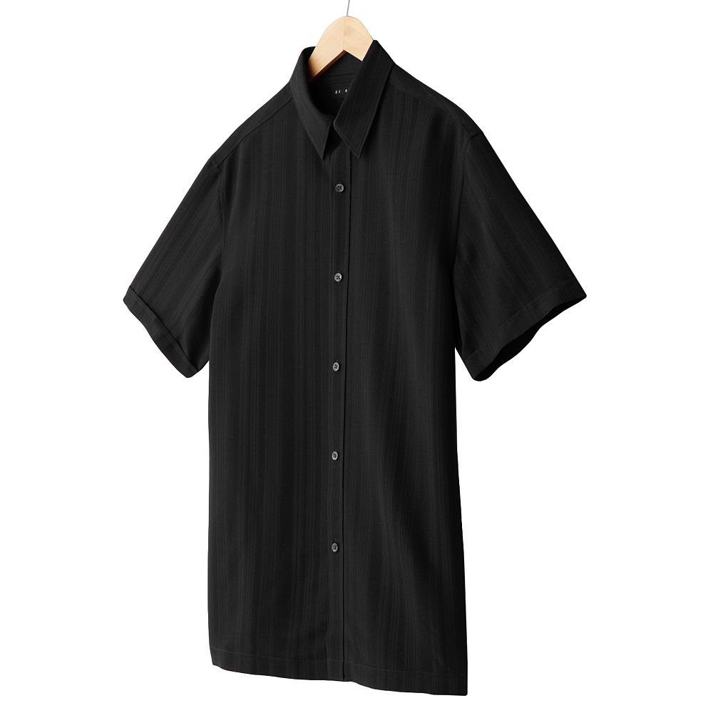 Axcess Mens Striped Casual Button-Front Shirt or Top Axcess Medium or M Black Short Sleeve  NEW