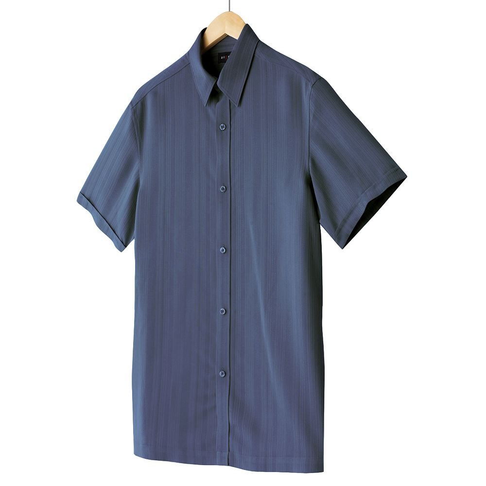 Axcess Mens Striped Casual Button-Front Shirt or Top Axcess Medium or M Blue Short Sleeve  NEW