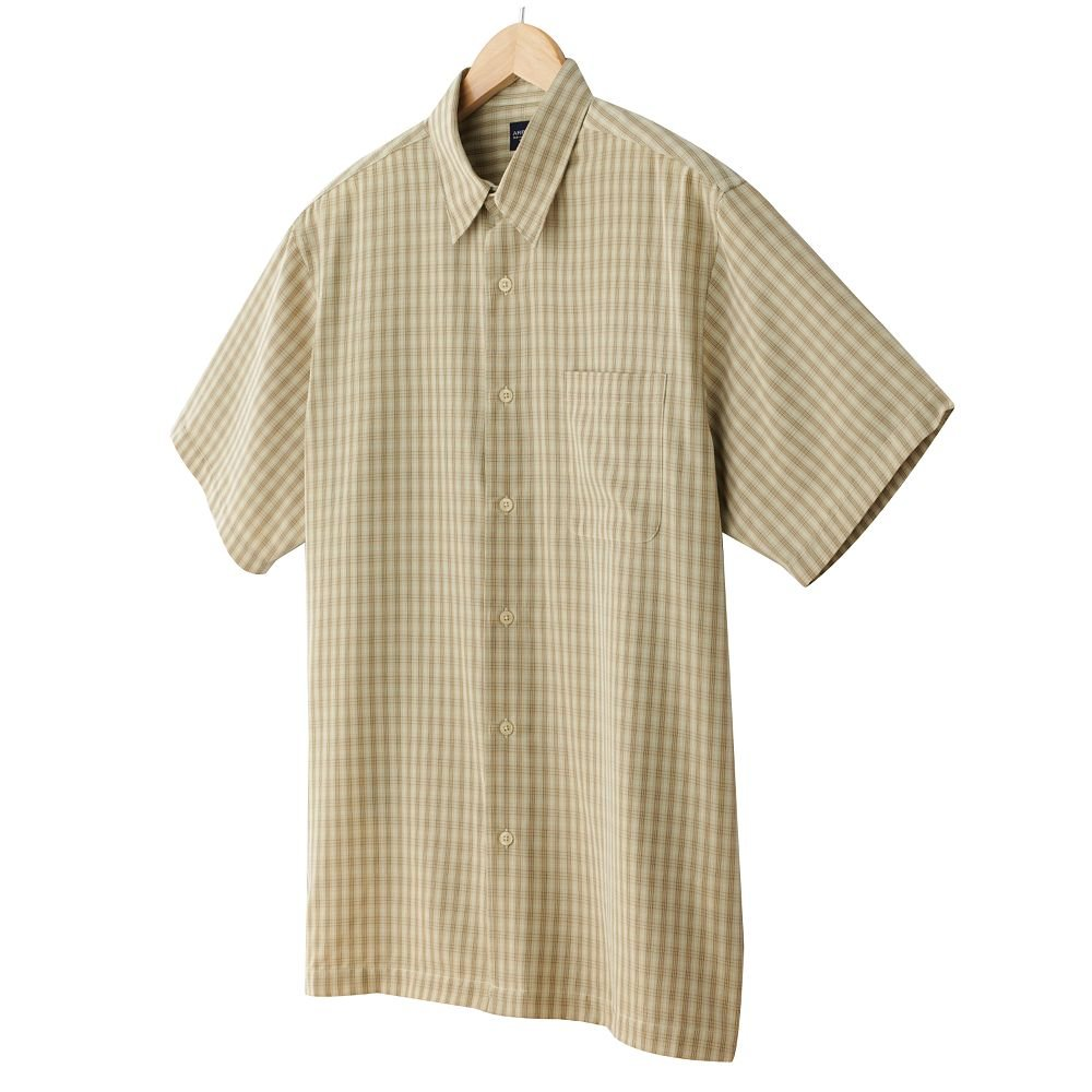 Arrow Mens Plaid Casual Button-Front Shirt or Top Size XXL 2XL Tan Yellow Short Sleeve NEW