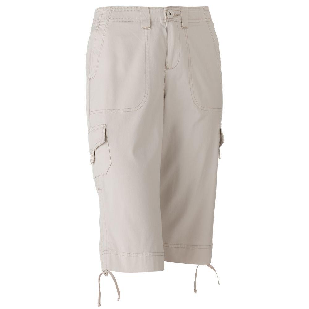 NWT Gloria Vanderbilt Lucia Comfort Waist Cargo Skimmer Pants Petite Capris Sz. 4P Off-White $42.00