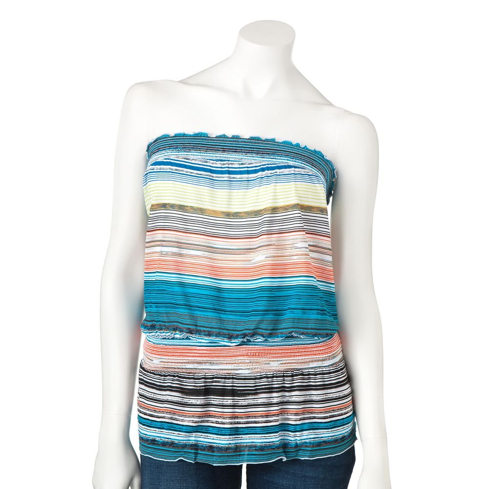 Juniors Teens Girls Striped Bright Tube Top by MUDD Sz Large L $20.00 NEW