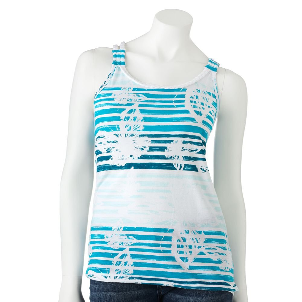 Juniors Teens Girls Blue Striped Braided Tank Top Shirt by SO Sz L Large $20.00 NEW