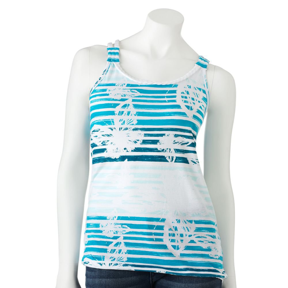 Juniors Teens Girls Blue Striped Braided Tank Top Shirt by SO Sz XL Extra Large $20.00 NEW