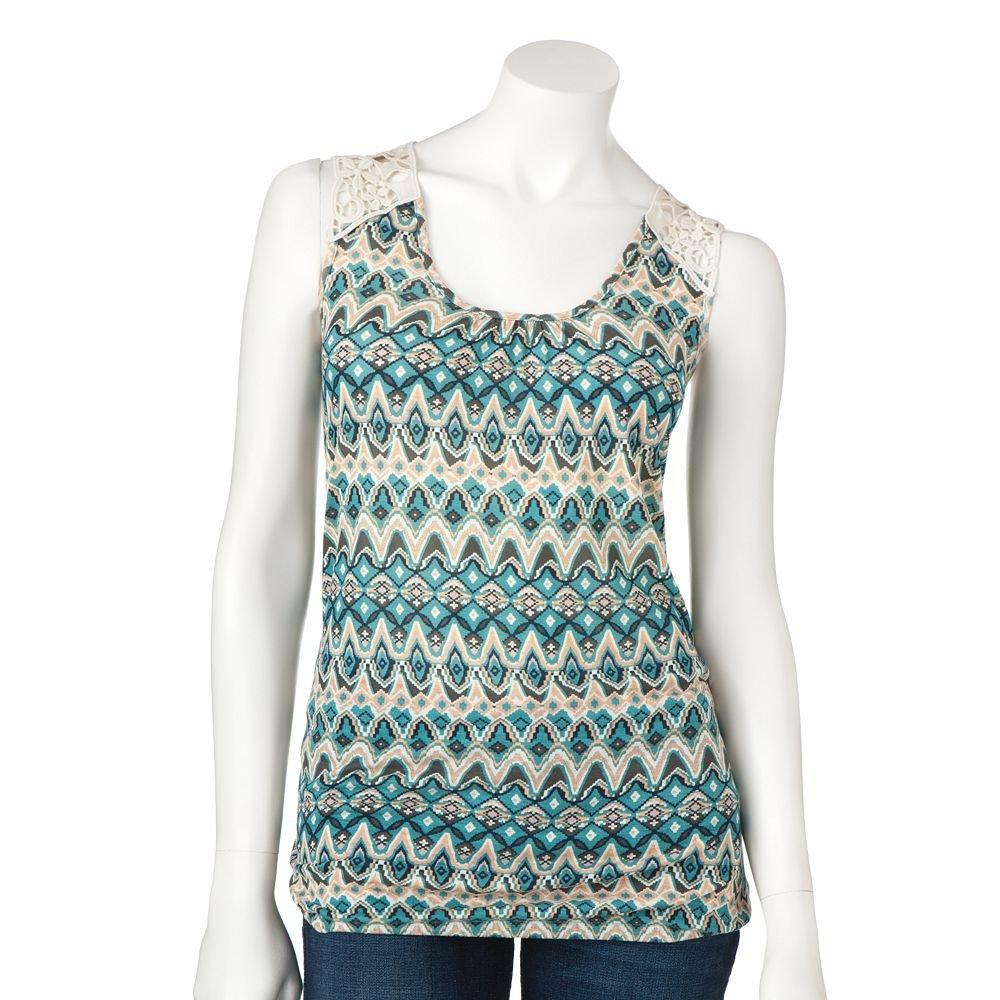 Juniors Teens Girls BLUE IKAT Crochet Top by MUDD Sz Medium M $24.00 NEW