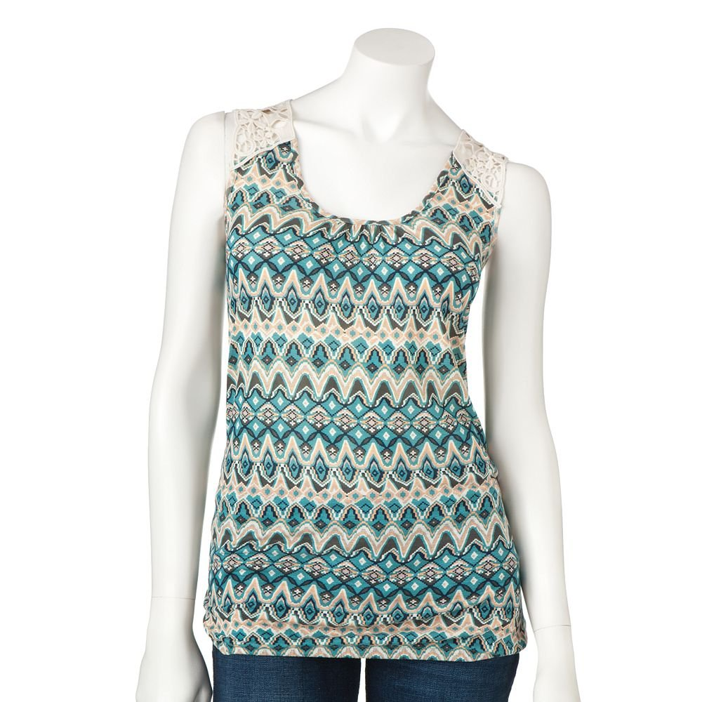 Juniors Teens Girls BLUE IKAT Crochet Top by MUDD Sz Extra Large XL $24.00 NEW