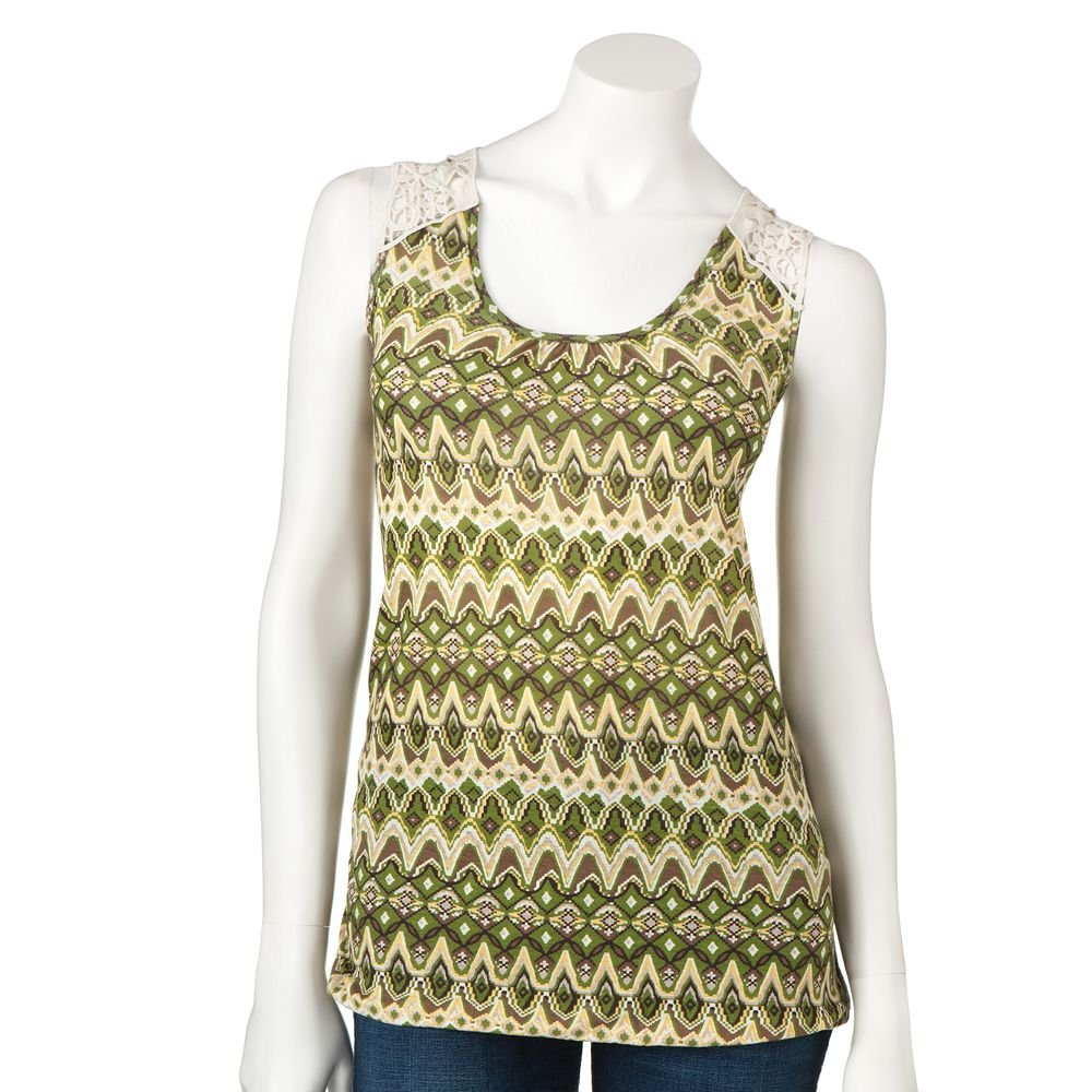 Juniors Teens Girls GREEN IKAT Crochet Top by MUDD Sz Large or L $24.00 NEW