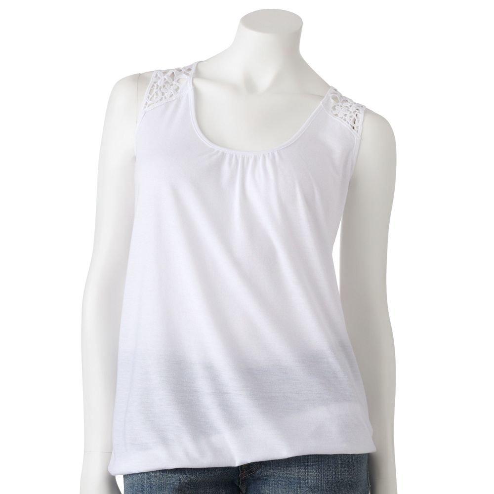 Juniors Teens Girls White Macrame Bubble Hem Tank Top by MUDD Sz Medium or M $24.00 NEW