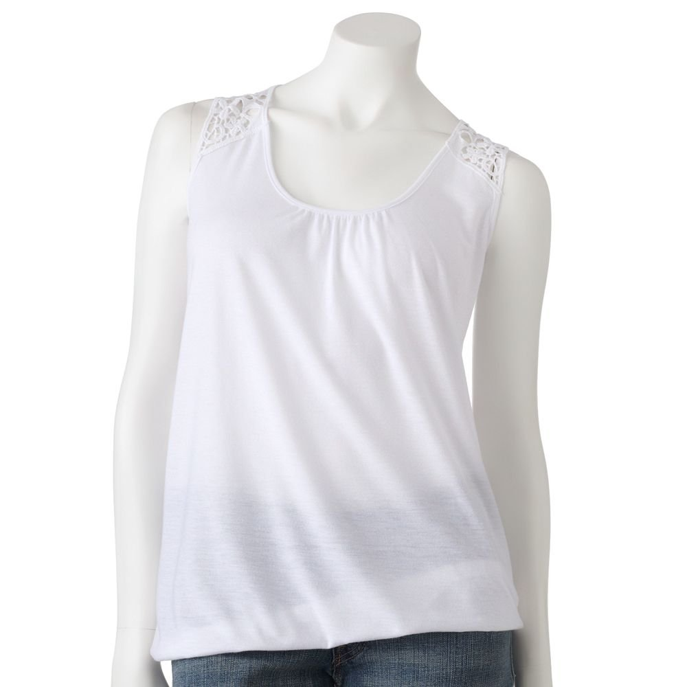 Juniors Teens Girls White Macrame Bubble Hem Tank Top by MUDD Sz Extra Large or XL $24.00 NEW