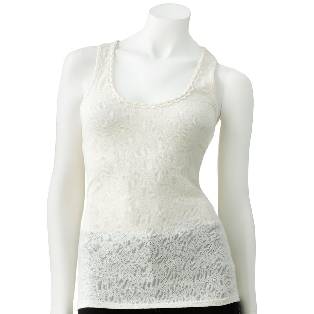 Juniors Teens Girls Ivory Lace & Crochet Tank Top by Candies Sz Large or L $28.00 NEW