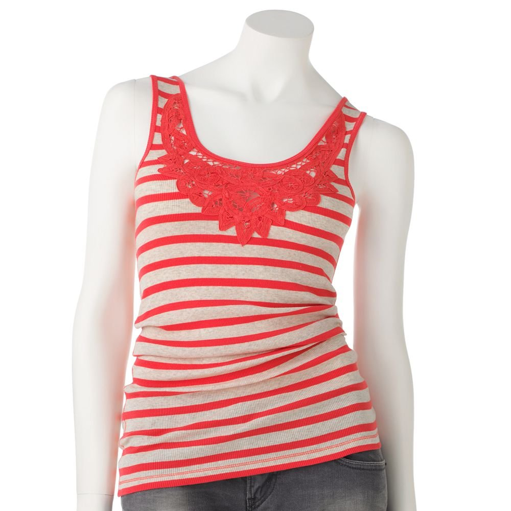 Juniors Teens Girls Pink Lace Striped Tank Top by SO Sz L or Large $16.00 NEW