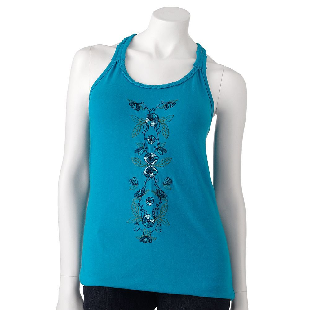 Juniors Teens Floral Embroidered Braided Blue Tank Top Shirt by SO Sz 2XL or XXL $20.00 NEW