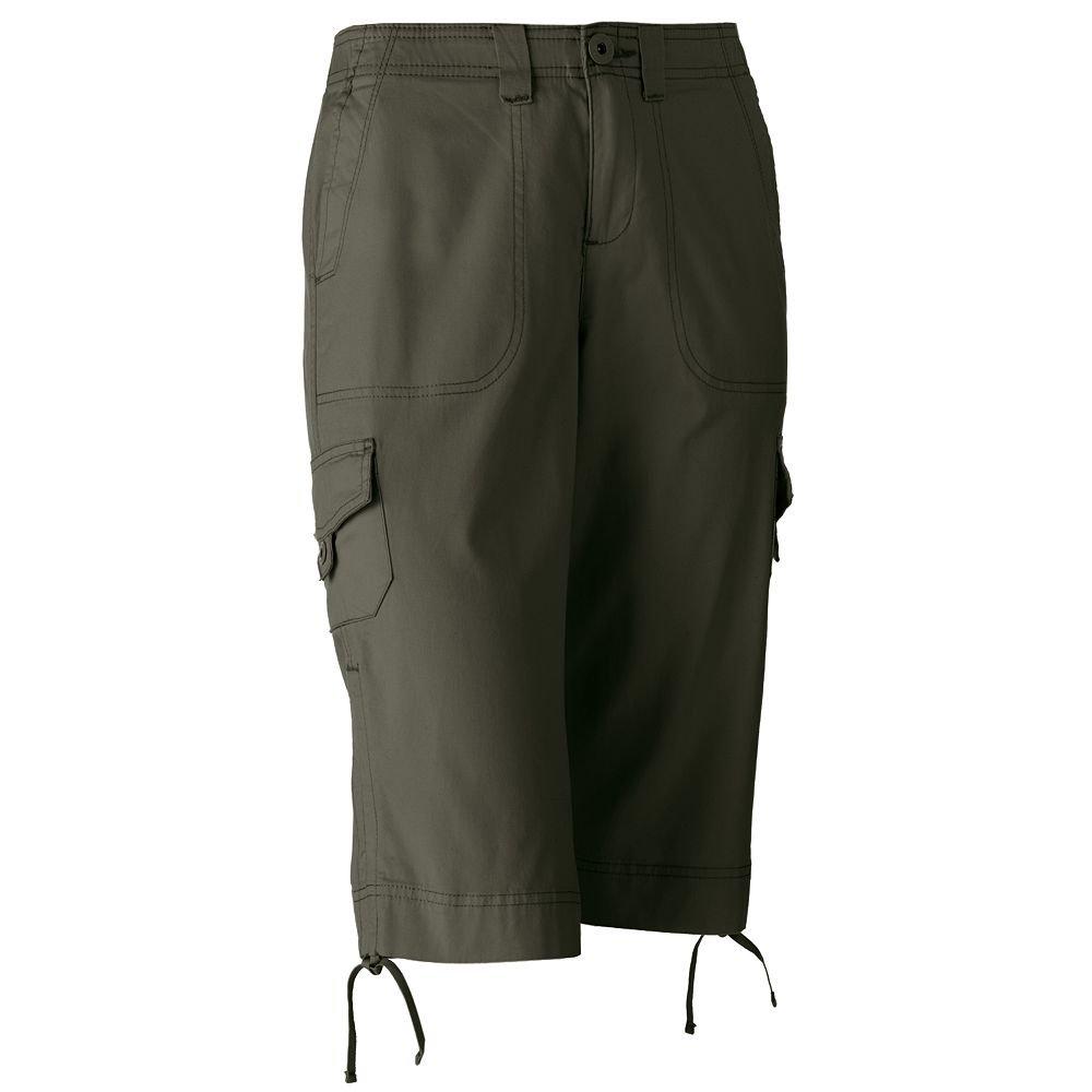 NWT Gloria Vanderbilt Lucia Comfort Waist Cargo Skimmer Pants Petite Capris Sz. 12P Green $42.00