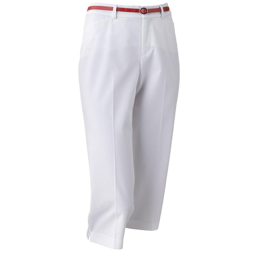 NWT Dockers Metro Straight-Leg Capris - Petite Capris Capri Pants Sz. 14 Petite White + BELT $42.00