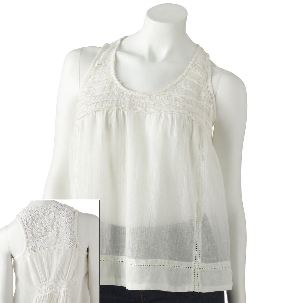 Juniors Teens Girls White Crochet Tiered Tank Top by MUDD Sz Large or L $30.00 NEW