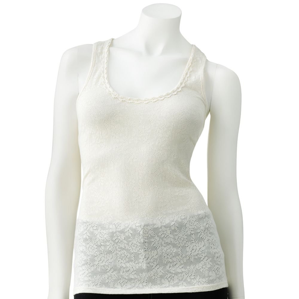 Juniors Teens Girls Ivory Lace & Crochet Tank Top by Candies Sz Small or S $28.00 NEW