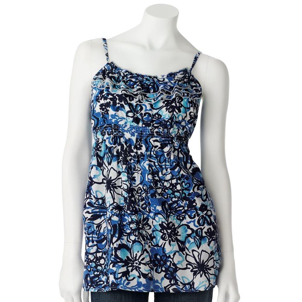 Juniors Teens Blue Floral Ruffled Camisole Top Shirt by SO Sz Medium M $30.00 NEW