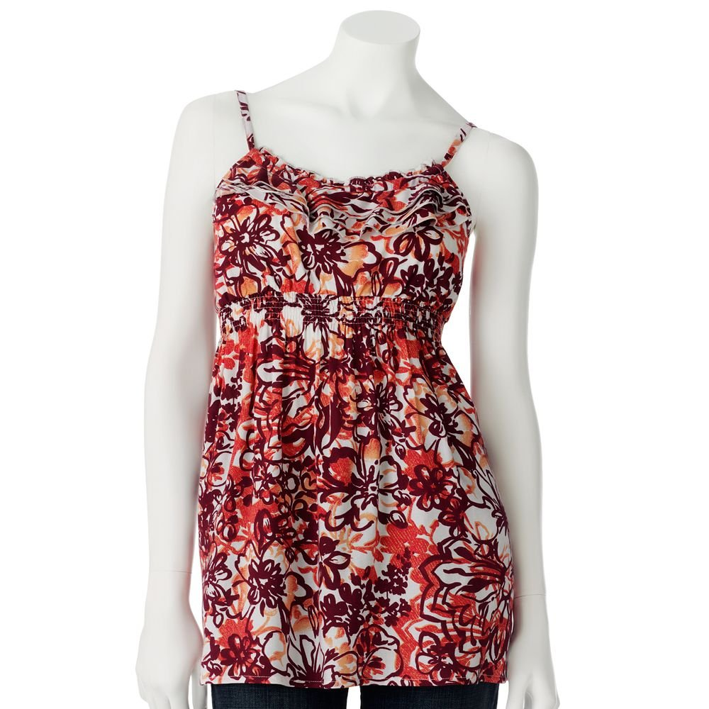 Juniors Teens Red Floral Ruffled Camisole Top Shirt by SO Sz Large L $30.00 NEW