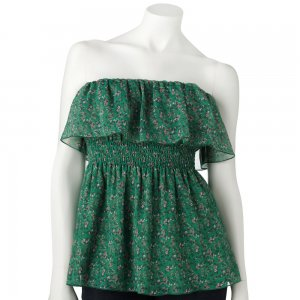 Juniors Teens Green Floral Ruffled Sleeveless Top Shirt by Candies Sz Small S $34.00 NEW