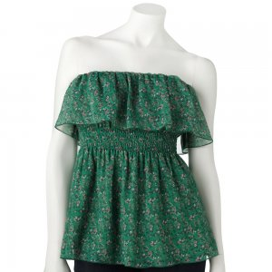 Juniors Teens Green Floral Ruffled Sleeveless Top Shirt by Candies Sz M or Medium $34.00 NEW