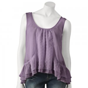 Juniors Purple Swiss Dot Tiered Cami or Camisole by EyeLash M or Medium NEW $36.00