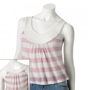 Juniors Teens Mauve Striped Lace Trim Crop Top Shirt Sz Medium $36.00 NEW