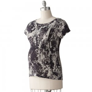 NEW Womens Maternity Splatter Top or Shirt Sz Medium M Oh Baby Maternity Black Gray NEW $40
