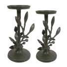 2 Pc SONOMA Brand 12 inch Black Leaf Aluminum Candleholder Pair Holders Metal Design NEW