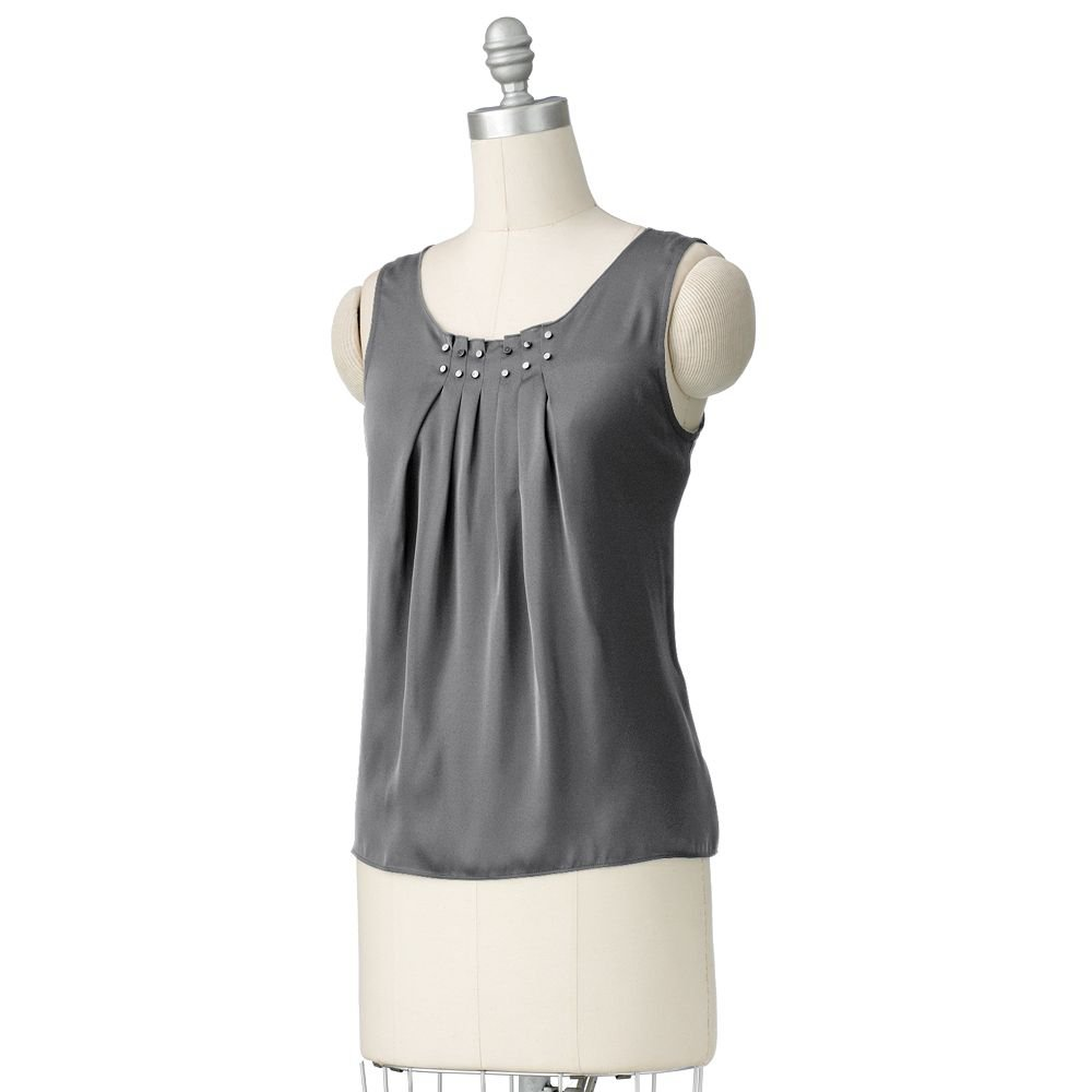Womens Dark Gray Pleated Embellished Trapeze Top or Shirt by Dana Buchman Size Medium NEW $44