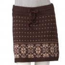 NEW Fairisle Sweater Skirt by TakeOut Short Style Juniors Sz L Large Brown Tan $36.00