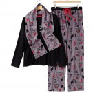 Croft & Barrow Fleece Pajama Set Black Gray Red Extra Large XL 3 Pc Set $44 NEW