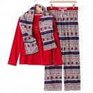 Croft & Barrow Fleece Pajama Set Blue White Red XXL 2XL 3 Pc Set $44 NEW