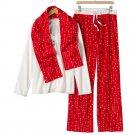 Croft & Barrow Fleece Pajama Set Stars White Red XXL 2XL 3 Pc Set $44 NEW