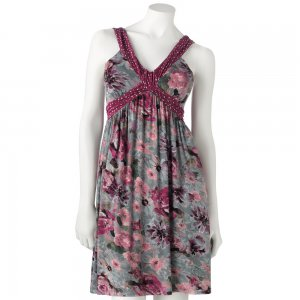 Candies Size Large Floral Dress Pink Gray NEW $58.00