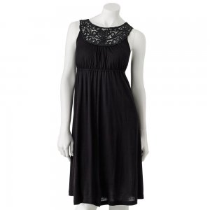 Candies Size Large or L Soutache Dress Solid Black NEW $58.00