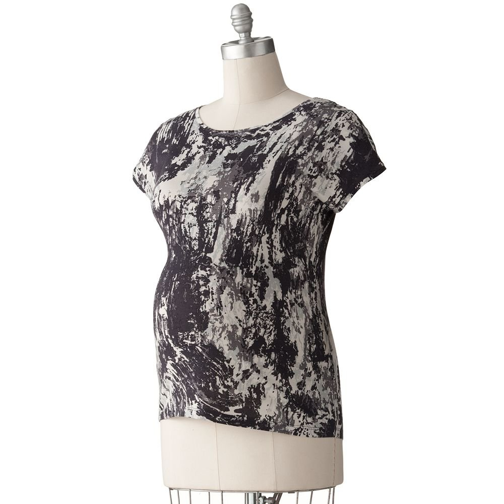 NEW Womens Maternity Splatter Top or Shirt Sz Large L Oh Baby Maternity Black Gray NEW $40
