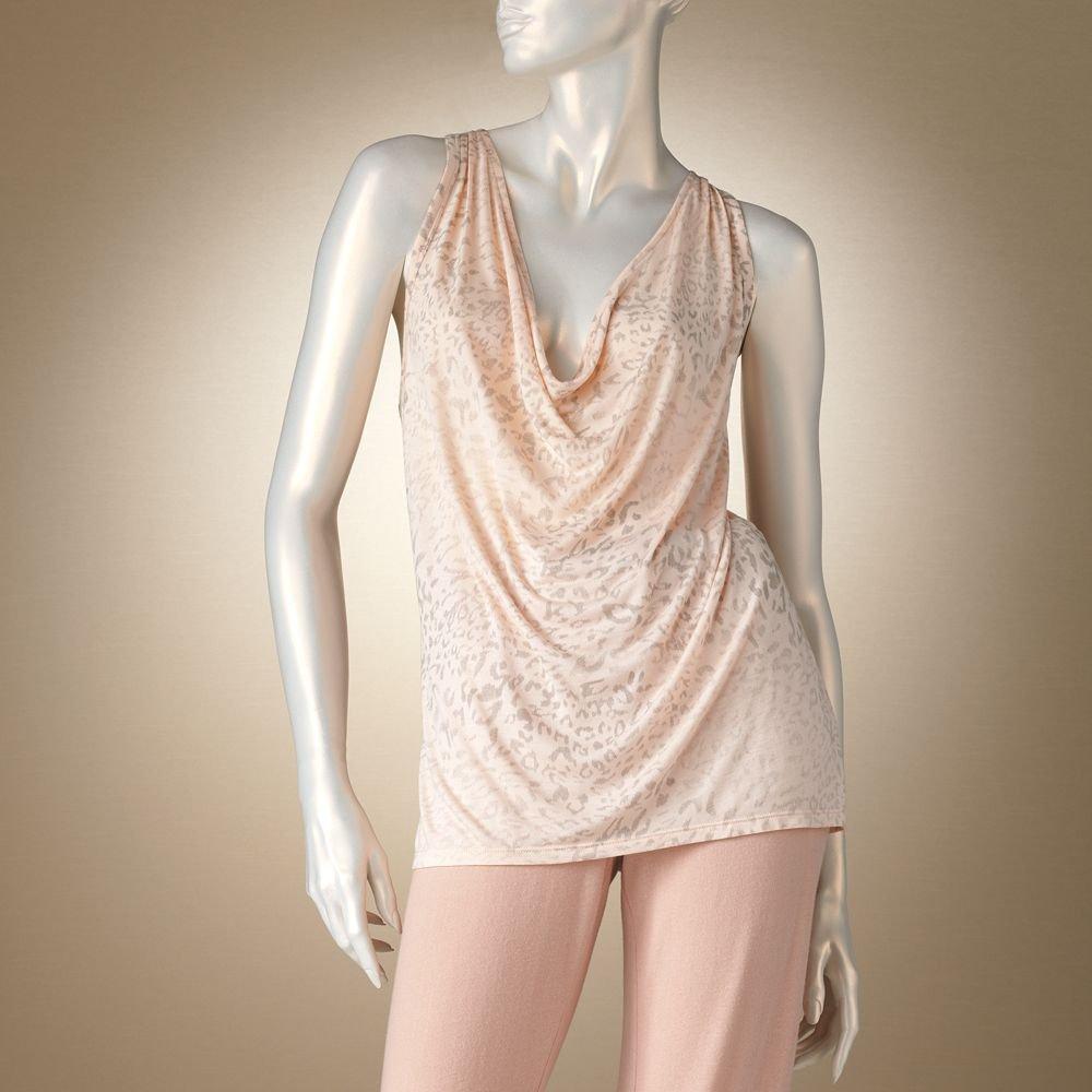 Jennifer Lopez Glamour Leopard Print Lounge Cowlneck Racerback Tank Sleep Shirt Sz Medium M $32 NEW