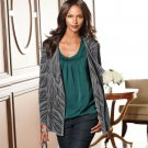 Dana Buchman Animal Open-Front Cardigan Gray Black Sz. Large L NEW $80
