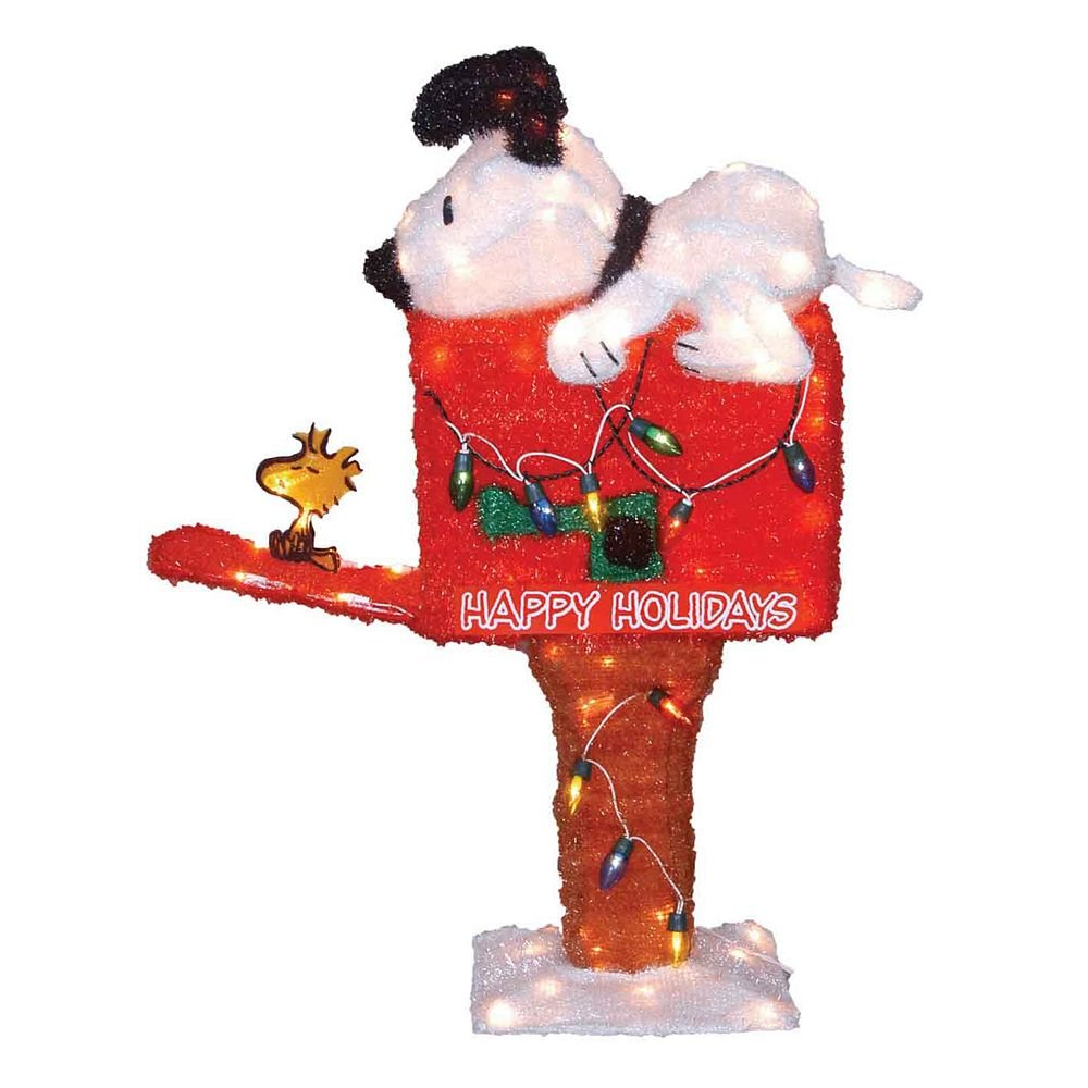 New in box christmas holiday peanuts animated mailbox for Animated christmas decorations