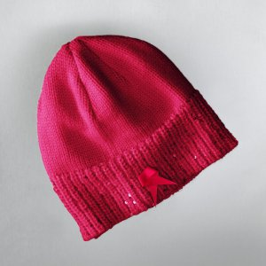 NEW Vera Wang Breast Cancer Awareness Hat Bright Rose Sequin Design