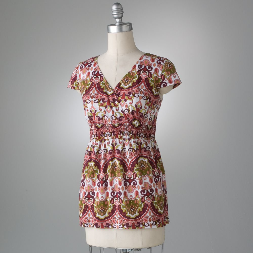 Axcess Womens Paisley Tee T-Shirt Top VNeck Size Medium NEW