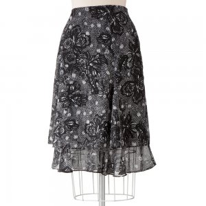 NEW 212 Collection Floral Ruffle Chiffon Skirt Side Zip Waist Womens Sz 18 $44.00 NEW