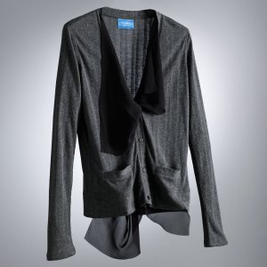 Womens Gray Chiffon Ribbed Cardigan Sweater by Vera Wang Size Petite Extra Large or PXL $48 NEW