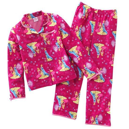 Disney Princess Fleece Girls Winter Pajama Set 2 Pc Sz. 4 NEW