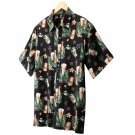 Croft Barrow Tropical Button Front Shirt Black Suds Size Large or L NEW $38