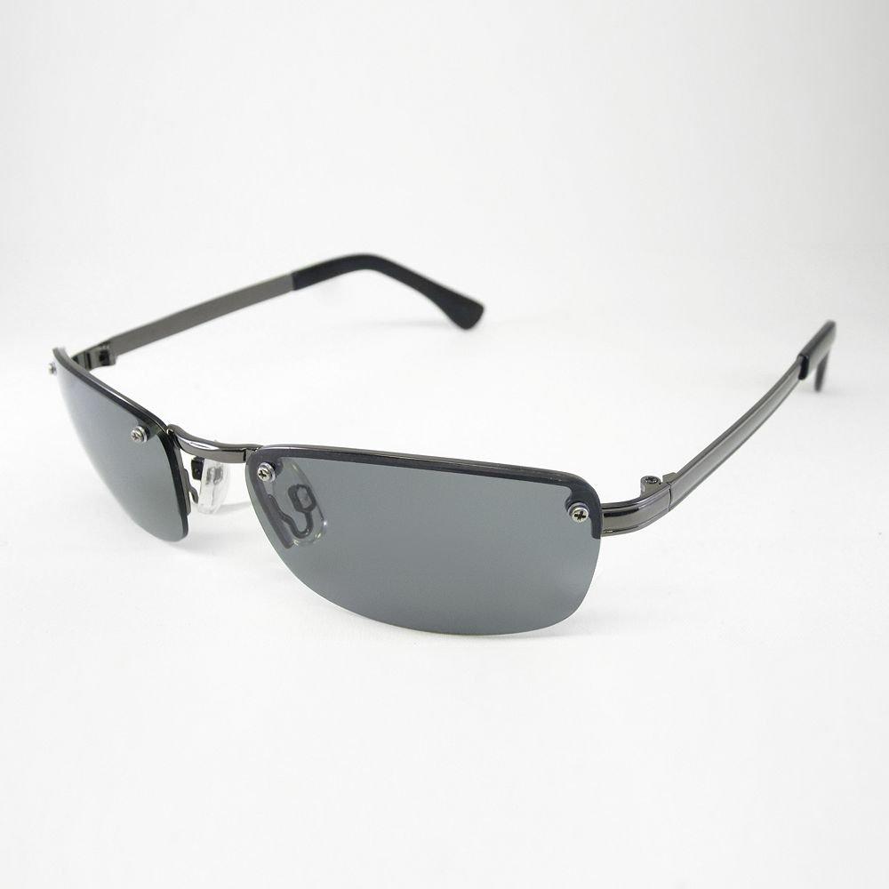 Urban Pipeline Rimless Rectangle Sunglasses Gunmetal Dark ...