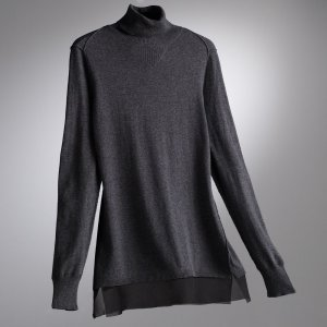Vera Wang SVVW Dark Gray Chiffon Turtleneck Sweater Womens Petite Small NEW $60