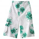 NEW Boys Swimsuit Swim Suit White with Green Floral Cargo Style Sz Extra Large NEW