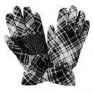 ZeroXposur Plaid Mabbel Womens Fleece Gloves S - M Black White NEW $30