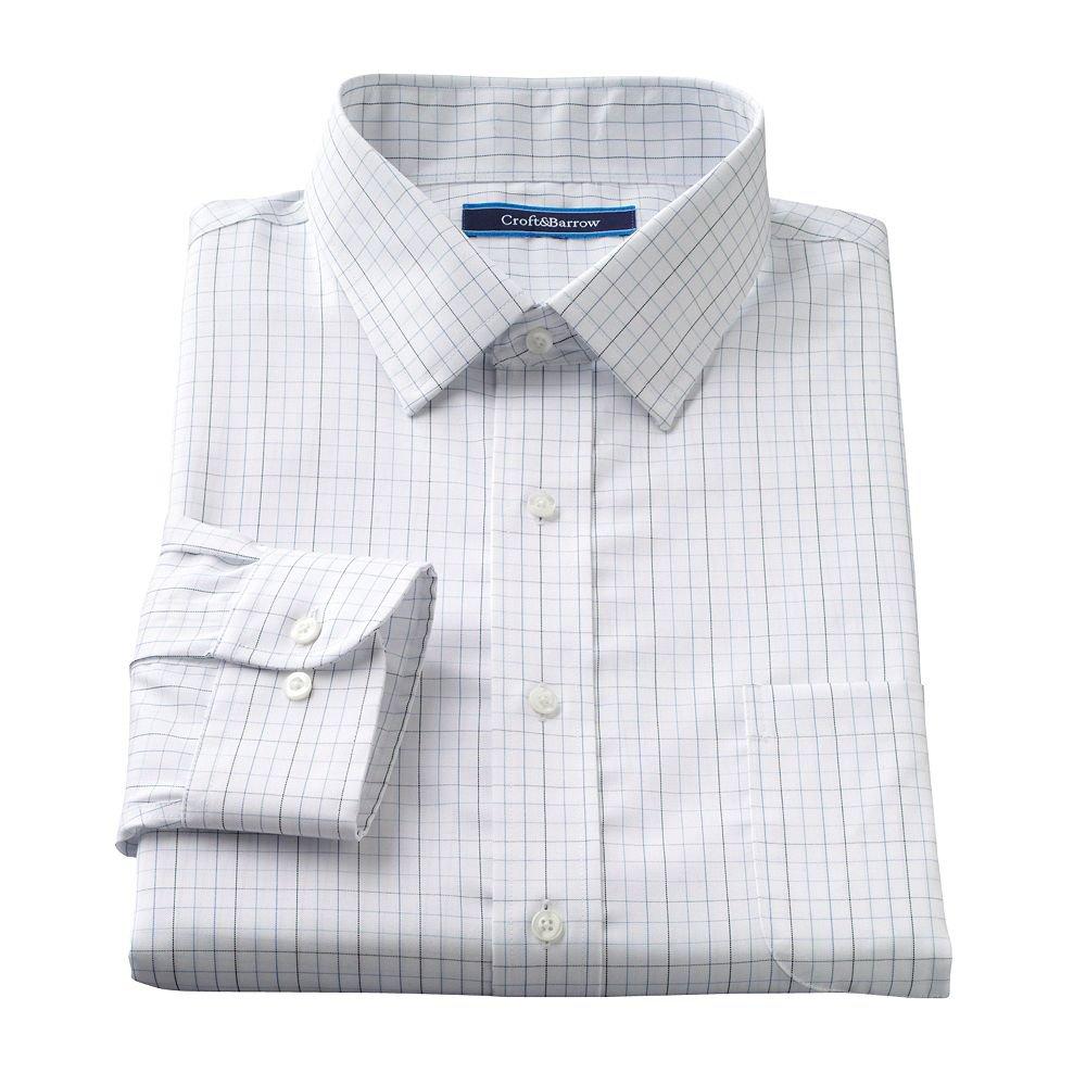 Mens croft barrow plaid classic fit no iron button down for No iron shirts mens