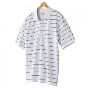 NEW White Striped Polo Shirt Mens Short Sleeve Sz Small S Croft Barrow $30.00